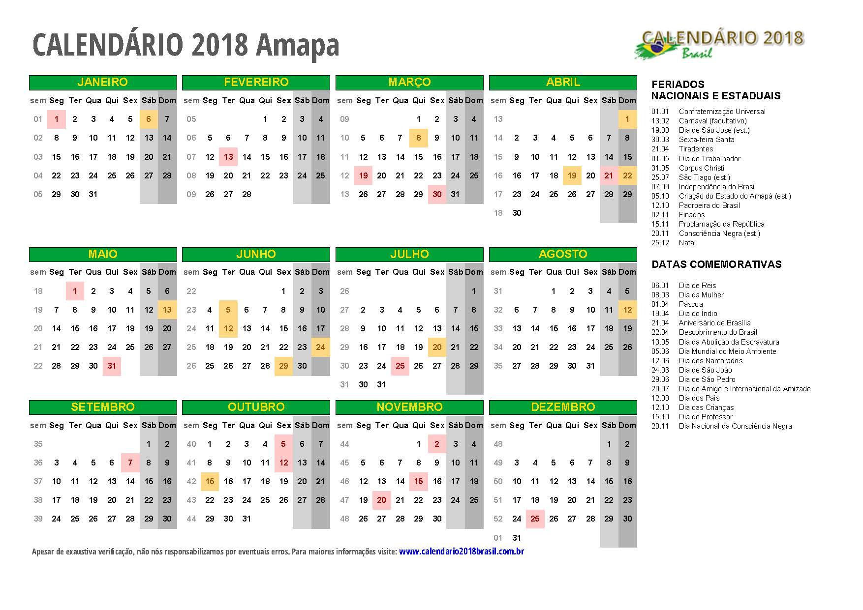 Calendario 2020 Pdf Brasil.Calendario 2018 Para Imprimir Com Feriados