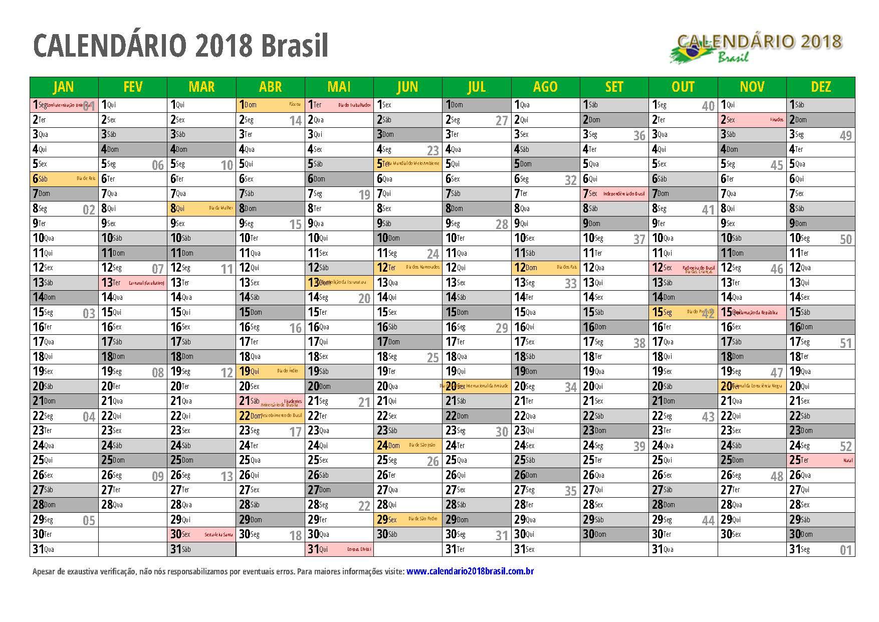 Calend rio 2018 para imprimir com feriados for Calendario ferias