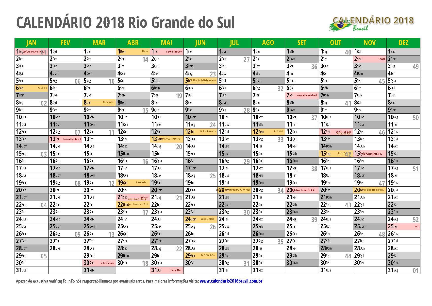 Calendario Grande.Calendario 2018 Para Imprimir Com Feriados