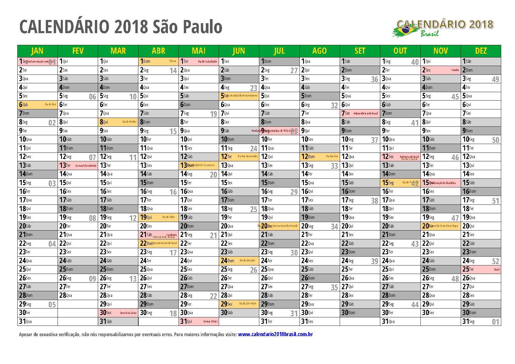 Calend rio 2018 para imprimir com feriados for Calendario de pared 2018