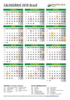 Calendário 2018 Brasil