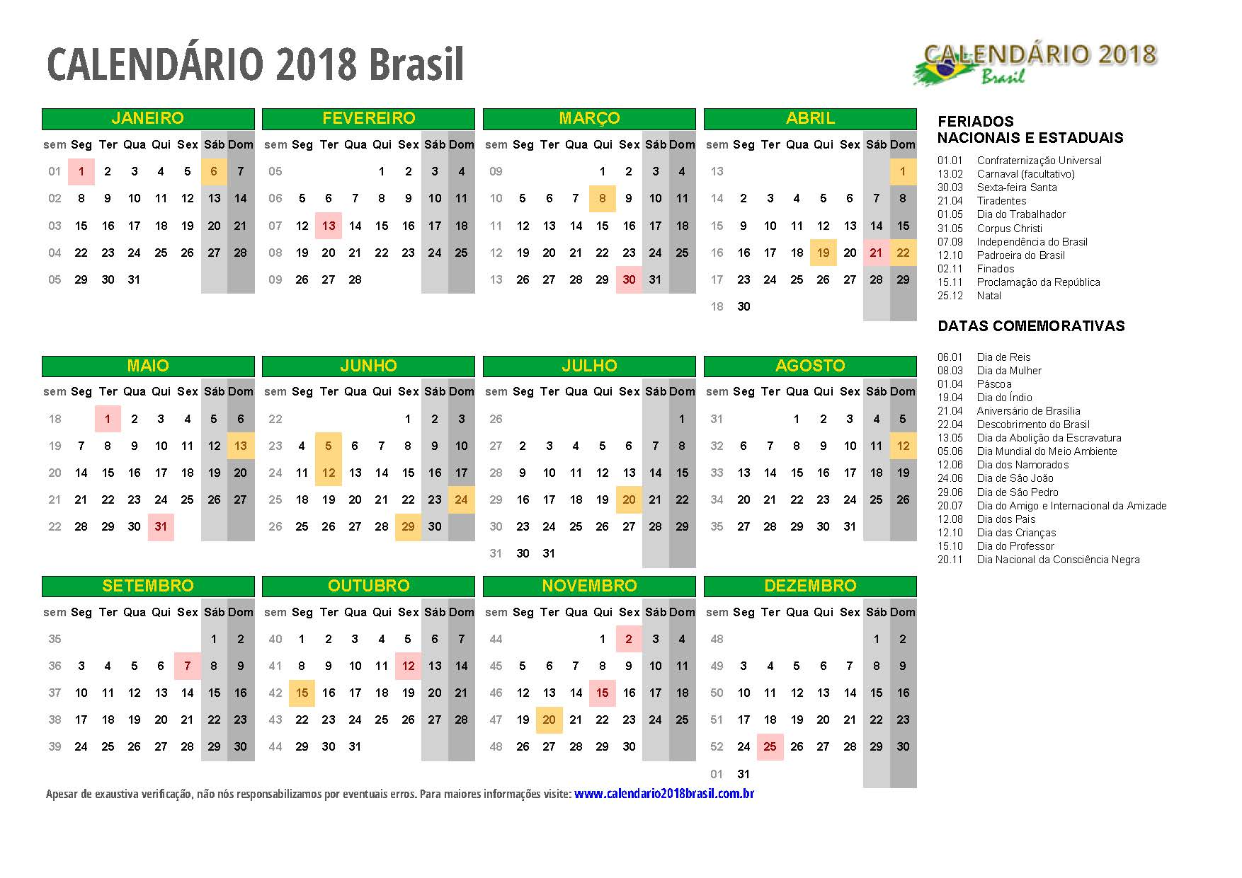 Calendario 2018 Com Feriados Todos Os Estados
