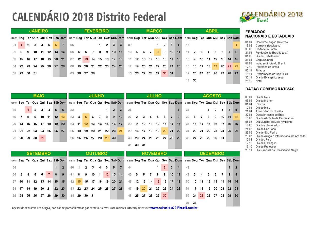 Calend rio 2018 distrito federal com feriados for Ministerio del interior pagina oficial