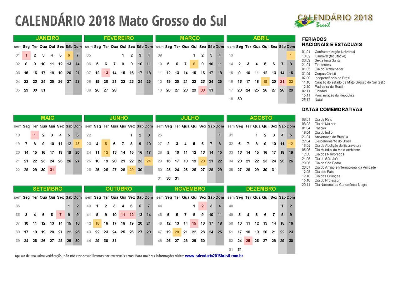 Calendario 2019 Campo Grande Ms.Calendario 2018 Mato Grosso Do Sul Com Feriados