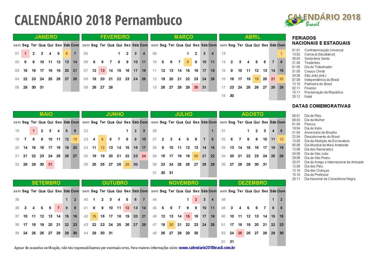Calend rio 2018 pernambuco com feriados for Calendario ferias