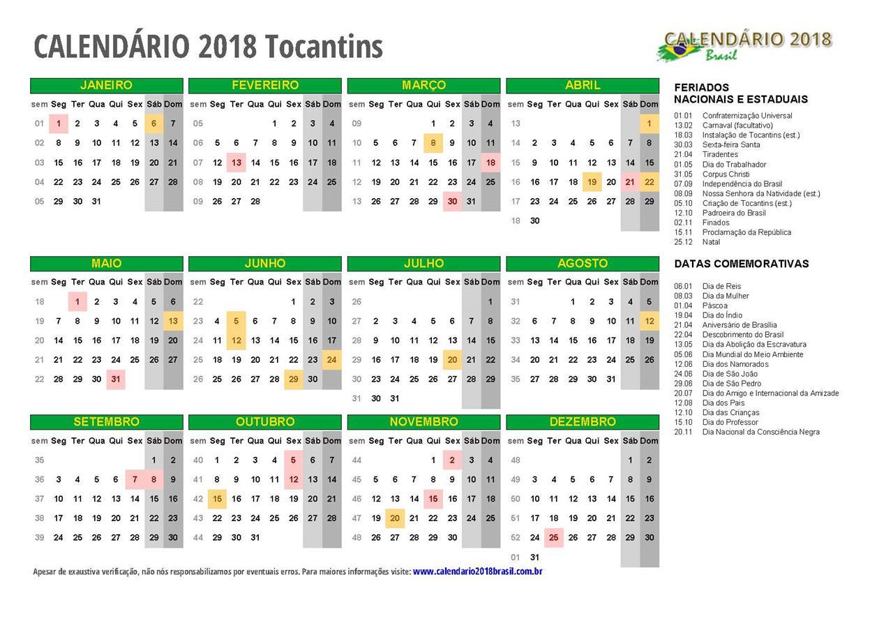 Calendário 2018 TOCANTINS - com feriados 8e25c4ac732d9